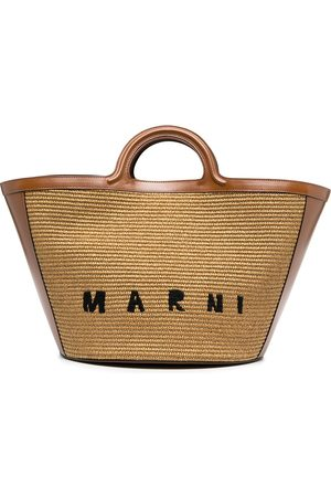 Marni Logo-embroidered raffia tote bag
