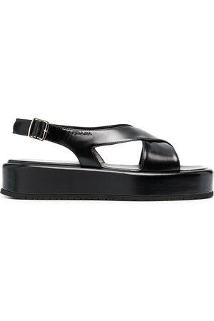 Prada Debossed-logo flat sandals