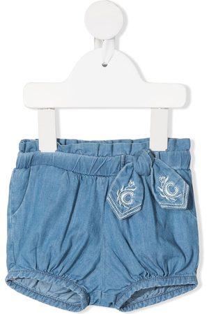 Chloé Kids Shorts - Bow-detail denim shorts