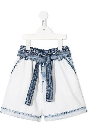 Msgm Kids Tie-waist denim shorts