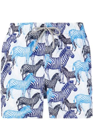 Mc2 Saint Barth Zebra-print elasticated-waist swim shorts