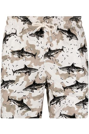 Mc2 Saint Barth Shark-print elasticated-waist swim shorts