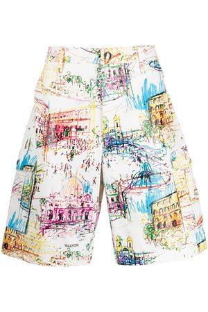 VALENTINO Herren Shorts - Roman sketches-print Bermuda shorts