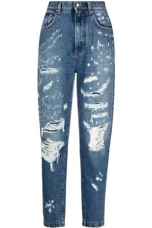 Dolce & Gabbana Damen Tapered - Ripped tapered jeans