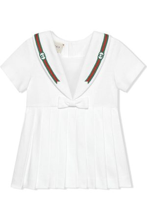 Gucci Kids Embroidered pleated dress