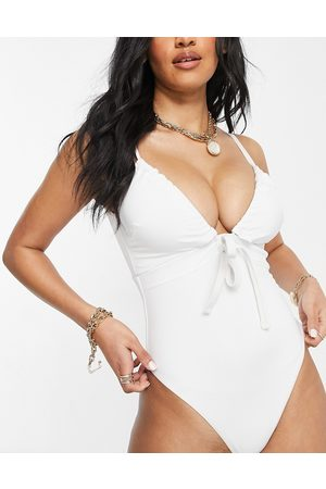 ASOS DESIGN Fuller bust recycled ruched tie swimsuit in white
