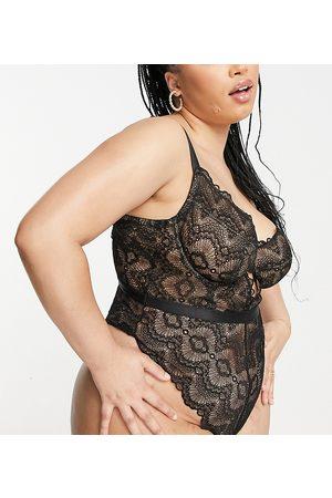 ASOS Curve ASOS DESIGN Curve Rosie lace underwired body in black