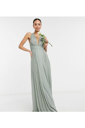 ASOS Tall ASOS DESIGN Tall Bridesmaid ruched bodice drape maxi dress with wrap waist in olive-Green