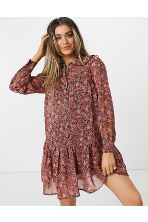 New Look Floral tiered mini dress with collar in pink
