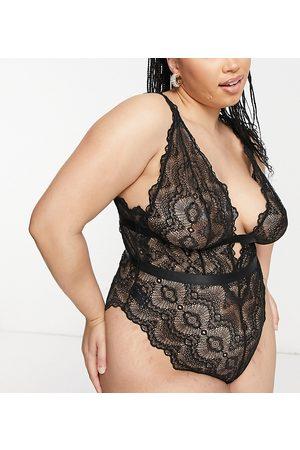ASOS Curve ASOS DESIGN Curve Rosie lace soft body in black