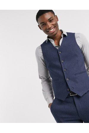 ASOS Wedding super skinny wool mix suit waistcoat in herringbone