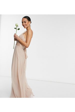 ASOS Tall ASOS DESIGN Tall Bridesmaid ruched pinny maxi dress with tie waist detail in Blush-Pink