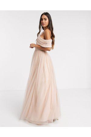ASOS DESIGN Tulle fallen shoulder maxi dress in light champagne