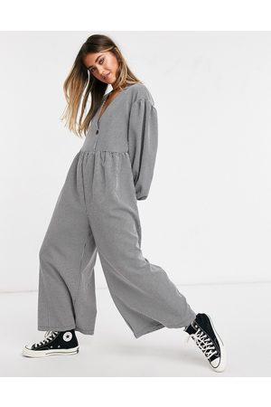 ASOS DESIGN Gingham check smock jumpsuit-Multi