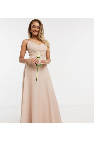 ASOS Petite ASOS DESIGN Petite Bridesmaid cami maxi dress with ruched bodice and tie waist in Blush-Pink