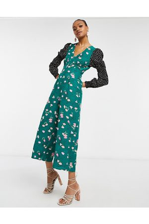 ASOS DESIGN Double puff sleeve jumpsuit in mixed floral spot print-Multi