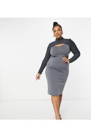 ASOS Curve ASOS DESIGN Curve rib crop overlay midi pencil dress in grey