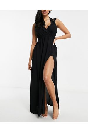 ASOS DESIGN Fuller bust recycled knot strap maxi beach dress in black