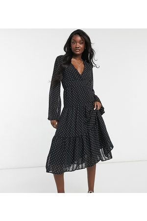Y.A.S Tall Tiered midi dress with v neck in black spot print