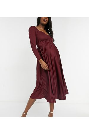 ASOS Maternity ASOS DESIGN Maternity long sleeve ruched bust midi dress in berry-Red