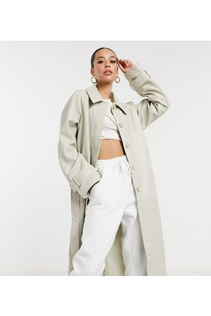 ASOS DESIGN Tall collared faux leather trench coat in putty-Cream