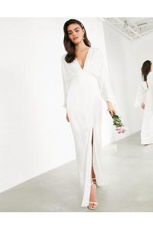 ASOS EDITION Cari satin wrap wedding dress with kimono sleeve-White