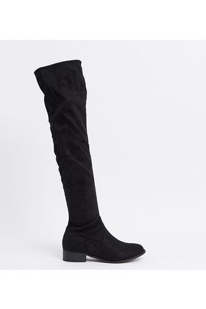 Public Desire Wide Fit Exclusive Elle over the knee boots in black