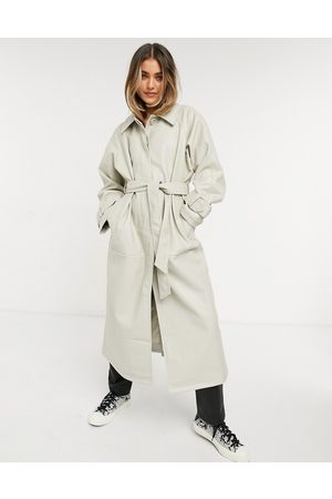 ASOS DESIGN Collared faux leather trench coat in putty-Cream