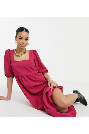 New Look Tall Square neck tiered midi smock dress in pink