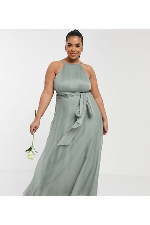 ASOS Curve ASOS DESIGN Curve Bridesmaid ruched pinny maxi dress with tie waist detail in Olive-Green