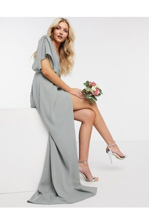 ASOS DESIGN Bridesmaid short sleeved cowl front maxi dress with button back detail in olive-Green