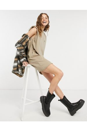 ASOS DESIGN Padded shoulder sleeveless t-shirt dress with you are the sun print in taupe
