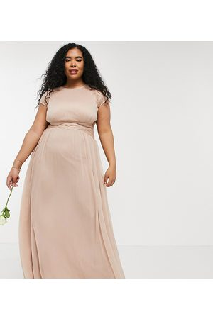 ASOS Curve ASOS DESIGN Curve Bridesmaid ruched bodice maxi dress with cap sleeve detail-Pink