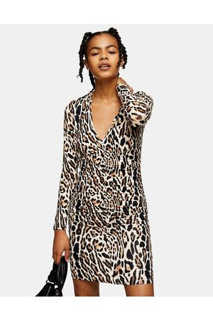 Topshop Ruched front mini dress in leopard print-Multi
