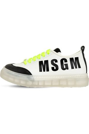 Msgm Sneakers Aus Leder Mit Logo