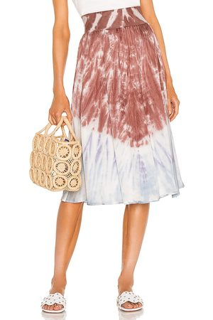Chaser Stretch Silky Basics Rib Waist Faux Wrap Midi Skirt in - Mauve,Blue. Size L (also in S, XS, M).