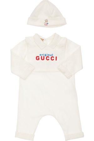 Gucci Damen Jumpsuits - Spielanzug, Latz Und Mütze Aus Baumwolljersey
