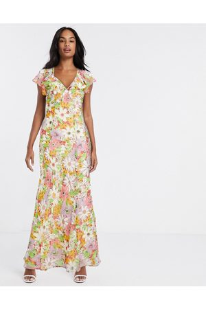 ASOS Soft bias maxi dress with ruffle in vintage floral print strawberry fields-Multi