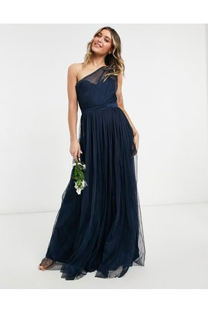 ANAYA With Love Bridesmaid tulle one shoulder maxi dress in