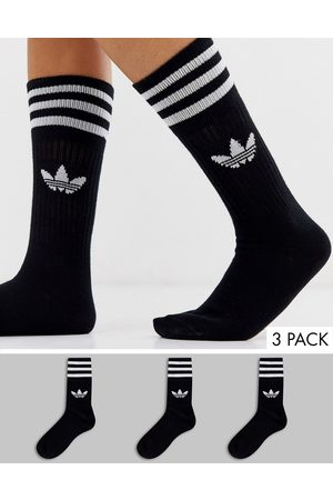 adidas Originals Trefoil 3 pack crew socks in black