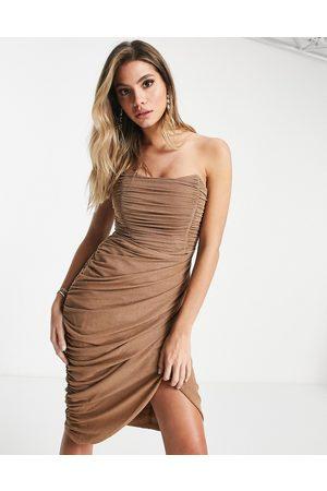 Rare Fashion London mesh drape wrap midi pencil dress in camel glitter