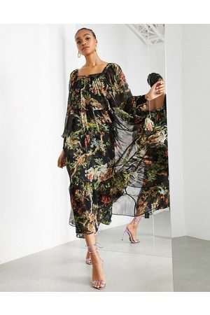 ASOS Oversized maxi dress with square neck in woodland print-Multi