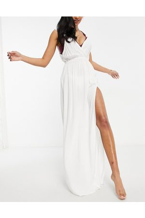 ASOS Fuller bust recycled knot strap maxi beach dress in white