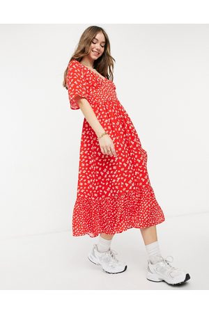 French Connection Fayola drape midi dress in red