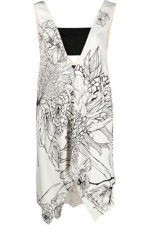 Roberto Cavalli Asymmetric floral-print dress
