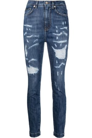 Dolce & Gabbana Damen High Waisted - Ripped high-waisted skinny jeans