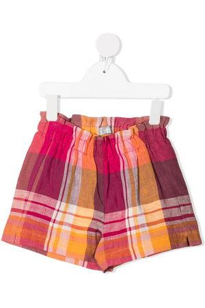 Il gufo Check print linen shorts