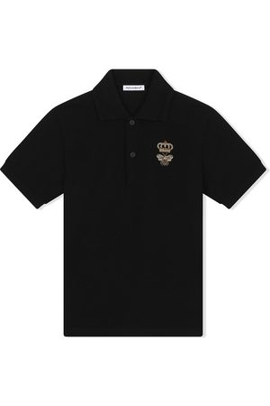 Dolce & Gabbana Bee and crown-embroidered polo shirt