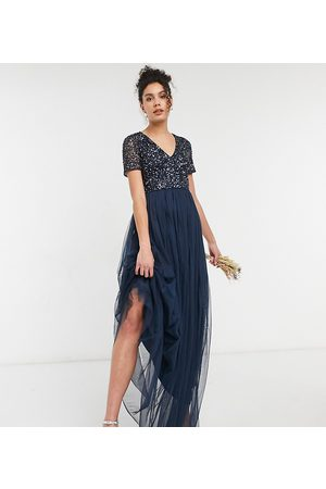Maya Bridesmaid v neck maxi tulle dress with tonal delicate sequin in