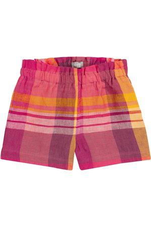 Il gufo Mädchen Shorts - Karierte Shorts aus Leinen